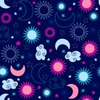 Celestial Moon And Stars Seamless Repeat Pattern Vector Illustration Image