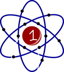 Atom With White Number One Clip Art