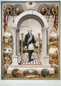 Washington As A Mason  / Drawn By J.f. Queen ; Printed In Oil Colors By P.s. Duval Son & Co. Image