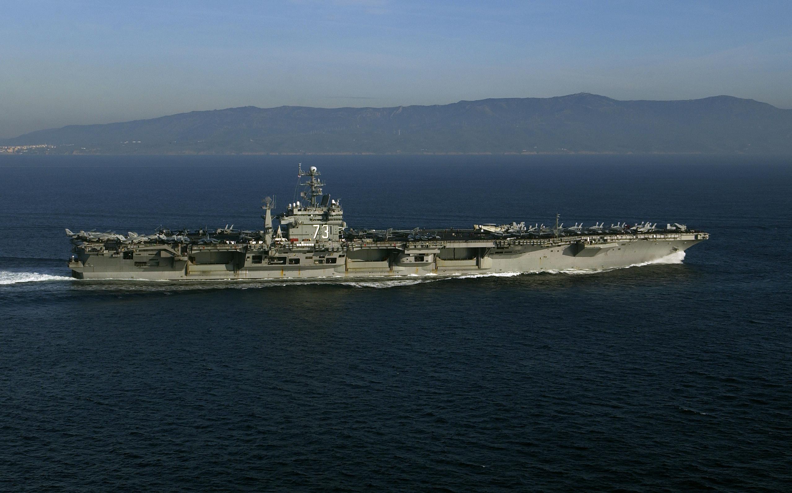 The nuclear powered aircraft carrier uss george washington cvn 73
