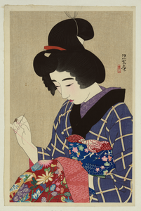Woman Sewing Cloths Image