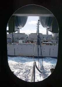Fast Combat Support Ship Usns Supply (t-aoe 6) Pulls Along Side Roosevelt For A Replenishment At Sea (ras). Image