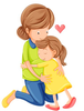 Mom Hugging Child Clipart Image