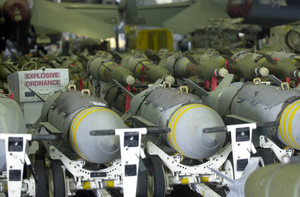 Various Bombs Are Staged In The Hanger Bay For Inspection Prior To Being Loaded Onto Carrier Air Wing Eleven (cvw-11) Aircraft Aboard Uss Nimitz (cvn 68). Image