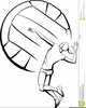 Girl Spiking Volleyball Clipart Image