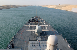 The Guided Missile Destroyer Uss Donald Cook (ddg 75) Transits The Suez Canal.  Donald Cook Is One Of The Many Warships Supporting Operation Iraqi Freedom Image