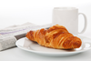 Croissant Newspaper And Tea Image
