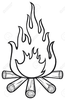 Black And White Fire Clipart Image