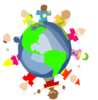 Kids World Hands Friends Networks Globe Illustration Small Clip Art