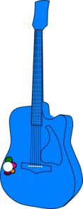 Guitar Flower Blue Clip Art