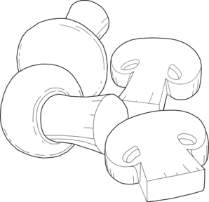 Mushrooms Outline Clip Art