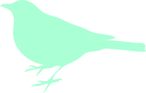 Mint Bird Silhouette Dark Clip Art