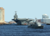 Uss George Washington (cvn 73) Passes By Downtown Norfolk During Her Transit Down The Elizabeth River. Clip Art