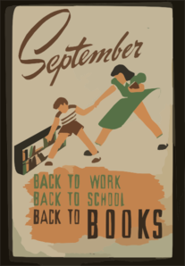 September - Back To Work - Back To School - Back To Books  / V. Donaghue Clip Art