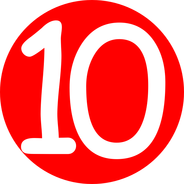 Red rounded with number 10 clip art