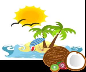 Beach coconut. Sun clip art at