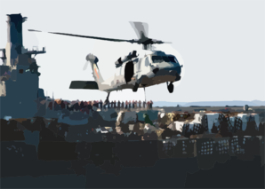An Mh-60s Knighthawk Assigned To The  Chargers  Of Helicopter Combat Support Squadron Six (hc-6), Receives A Palette Of Supplies Aboard The Military Sealift Command (msc) Fast Combat Support Ship Usns Supply (t-aoe 6). Clip Art