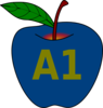 Blue Apple A1 Clip Art