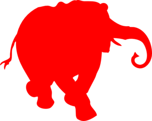 Elephant Silhouette Red Clip Art
