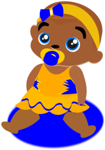 Blue &yellow Baby Clip Art
