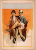 [two Men Sitting In One Chair, One Man S Leg Over The Other S, Both Smoking] Image