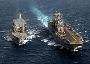Uss Tarawa (lha 1) Receives Fuel During An Underway Replenishment (unrep) With Military Sealift Command Oiler Usns Yukon (t-ao 202). Image