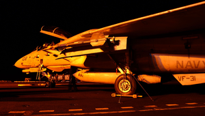 An F-14d Tomcat Is Readied For Night Flight Operations Image