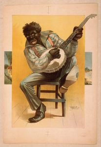 [african American, Seated, Playing Banjo] Image