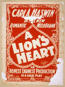 Carl A. Haswin In The New Romantic Melodrama, A Lion S Heart An Honest, Earnest Production Of A Great Play.  Image