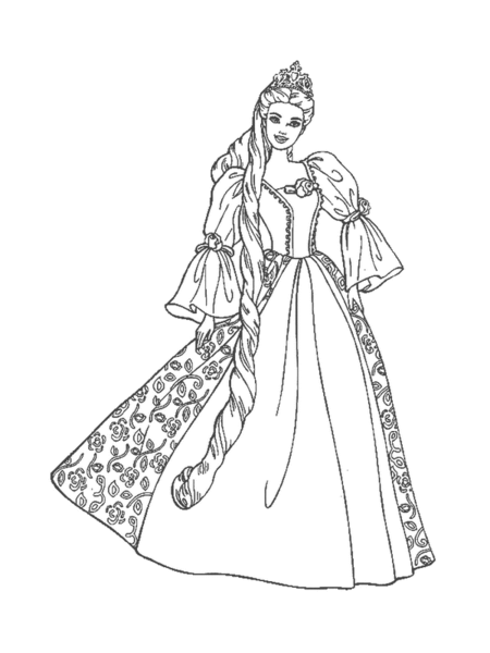 Barbie Princess Coloring Pages Free Images At Clker Com Vector