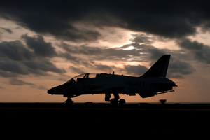A T-45c Goshawk Assigned To The  Eagles  Of Training Squadron Seven (vt-7) Launches Off On The Flight Deck Aboard Uss Harry S. Truman (cvn 75) During An Evening Training Flight. Image