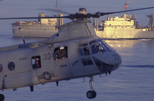 Ch-46 Helicoper Approaches Uss Peleliu Image