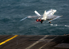 An F/a 18 Hornet Assigned To The Checkerboards Of Marine Strike Fighter Squadron Three One Two (vmfa-312) Launches From One Of Four Steam Driven Catapults On The Flight Deck Aboard Uss Enterprise (cvn 65). Image