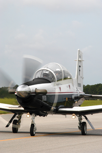 The T-6 Texan Training Aircraft Prepares To Take Off From The Flight Line At Naval Air Station (nas) Pensacola Image