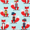 Hipster Fox Fabric Image