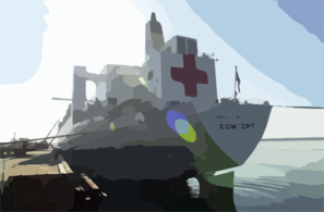 Military Sealift Command Hospital Ship Usns Comfort (t-ah 20) Pier Side At Her First Port-of-call At Naval Station Rota Clip Art