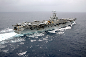 Aerial View Of The Nuclear Powered Aircraft Carrier Uss Harry S. Truman (cvn 75) Image