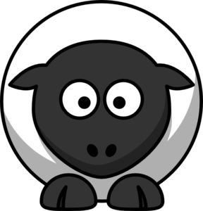 Sheep White With Black Face Feet Clip Art