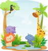 Cute Safari Animals Clipart Image