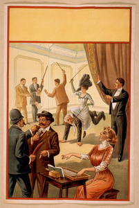 [hypnotist Directing Group Of People To Do Unusual Activities: Woman Playing Washboard, Woman Riding Man, Men Using Brooms As Musical Instruments, Policeman Using Sausage As Weapon] Image