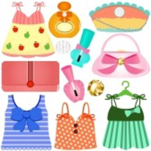 Cute Vector Icons Dresses Bags Accessories For Girls Image