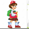Little Girl Going To School Clipart Image