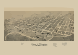 Perspective Map Of Texarkana, Texas And Arkansas Clip Art