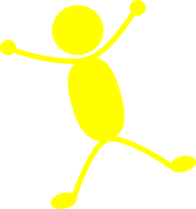 Solid Yellow Man Jumping Clip Art
