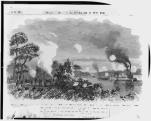The War In Louisiana - Destruction Of The U.s. Transport John Warner By Confederate Batteries On Red River, May 4  / From A Sketch By Our Special Artist, C.e.h. Bonwill. Clip Art