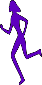 Purple Running Girl Clip Art