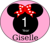 Pink Mouse First Year Bow Clip Art