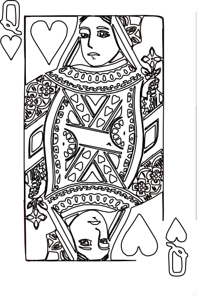 Queen of hearts coloring page 3 clip art at for Playing cards coloring pages