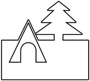 Tent And Tree Outline Clip Art