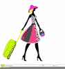 Girl With Luggage Clipart Image